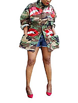cheap -Women's Jacket Long Camo / Camouflage Daily Basic Army Green S M L / Shirt Collar