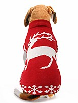cheap -dog cat christmas sweater dress with sleeve,pet red knit sweater warm clothes for xmas/winter cold weather