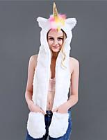 cheap -Adults' Hat Kigurumi Pajamas Unicorn Onesie Pajamas Flannelette White Cosplay For Men and Women Animal Sleepwear Cartoon Festival / Holiday Costumes