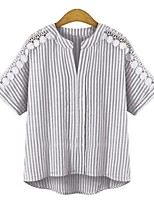 cheap -Women's T-shirt Striped Patchwork V Neck Tops Basic Basic Top Blue Gray