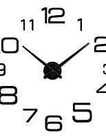 cheap -3d wall clock large modern diy home decor sticker frameless for living room bedroom office bar (black 2)