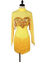 cheap -Latin Dance Dress Tassel Split Joint Women's Training Long Sleeve High Spandex