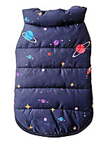 cheap -small dog warm fleece puffer vest coat puppy cold weather jacket quilted vest clothes (navy-space)