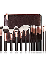 cheap -Professional 15 Pcs Natural Hair Makeup Brush Sets Wooden Handle Natural Soft Hair Professional Makeup Brushes
