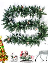 cheap -270cm 106inch Pine Garland with Flocked Cones