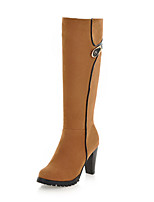 cheap -Women's Boots Wedge Heel Round Toe British Daily Solid Colored Nubuck Knee High Boots Almond / Red / Army Green