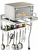 cheap -microwave oven rack, 2 tier storage rack microwave oven shelf kitchen supplies shelf household pot rack seasoning storage rack shelves, kitchen organiser holder stand (silver with hooks)