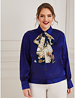 cheap -Women's Blouse Shirt Solid Colored Long Sleeve Lace up Shirt Collar Tops Basic Basic Top Royal Blue