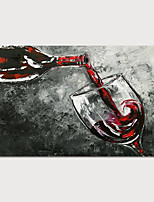 cheap -Hand-Painted Abstract Wine Painting Canvas Art  Painting Abstract Still Life Acrylic Painting Modern Art Textured Art  with Stretcher Ready to Hang With Stretched Frame