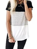 cheap -women's long sleeve round neck triple color block stripe t-shirt m black