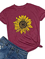 cheap -sunflower shirts for women cute graphic tee shirts letter print funny tee shirts top (l, red)
