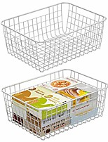 cheap -wire basket,  2 pack wire baskets for storage metal basket pantry organizer storage bin baskets with handles for kitchen cabinets, pantry, bathroom, countertop, closets (rose gold, large)
