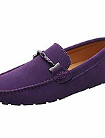 cheap -mens elegant buckle loafers comfort suede driving shoes stylish moccasin slippers purple sn19020 us11.5