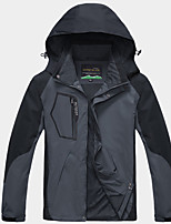 cheap -Men's Hiking Windbreaker Outdoor Patchwork Thermal Warm Waterproof Windproof Breathable Jacket Full Length Visible Zipper Fishing Climbing Camping / Hiking / Caving Blue / Grey