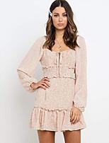 cheap -Women's A-Line Dress Short Mini Dress - Long Sleeve Print Ruffle Print Fall Square Neck Casual 2020 Beige S M L XL