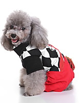 cheap -Dog Halloween Costumes Costume Jumpsuit Plaid / Check Cosplay Casual / Sporty Christmas Party Dog Clothes Breathable Black Costume Polyester S M L XL