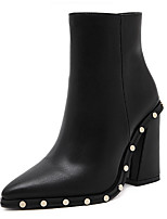 cheap -Women's Boots Cuban Heel Pointed Toe Casual Basic Daily Rivet Solid Colored PU Booties / Ankle Boots Walking Shoes Black