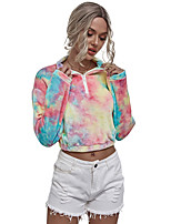 cheap -Women's Hoodie Zip Up Hoodie Half Zip Tie Dye Hoodie Sport Athleisure Pullover Long Sleeve Warm Soft Oversized Comfortable Everyday Use Exercising General Use
