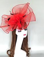 cheap -Headpieces Feathers / Net Fascinators / Hats / Headpiece with Cap / Flower 1 Piece Party / Evening / Horse Race Headpiece