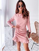 cheap -Women's Sheath Dress Knee Length Dress - Long Sleeve Solid Color Ruffle Summer Casual Daily 2020 Blushing Pink S M L XL