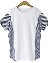cheap -Women's T-shirt Striped Patchwork Round Neck Tops Basic Basic Top White Blue Gray