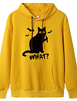 cheap -Women's Hoodie Cartoon Hoodie Cat Letter Printed Sport Athleisure Pullover Long Sleeve Warm Soft Oversized Comfortable Everyday Use Exercising General Use