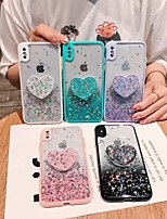 cheap -Case For iPhone 7 8 7plus 8plus X XR XS XSMax SE(2020) iPhone 11 11Pro 11ProMax Shockproof with Stand Ultra-thin Back Cover Heart Transparent Glitter Shine TPU