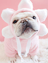 cheap -Dog Coat Hoodie Pajamas Flower Casual / Daily Cute Casual / Daily Winter Dog Clothes Warm Yellow Blue Pink Costume Plush S M L XL XXL
