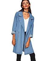 cheap -Women's Coat Long Solid Colored Daily Basic Blue Light Blue One-Size