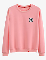 cheap -Women's Sweatshirt Womens Pullover Sweatshirts Black White Pink Minimalist Crew Neck Cotton Cute Star Sport Athleisure Pullover Long Sleeve Breathable Warm Soft Comfortable Everyday Use Causal