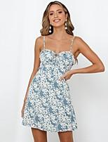 cheap -Women's Strap Dress Short Mini Dress - Sleeveless Floral Print Summer Casual Daily Slim 2020 Light Blue S M L XL