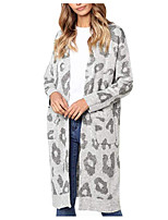 cheap -Women's Sweater Coat Long Geometric Daily Basic Blue Red Gray One-Size