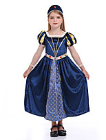 cheap -Princess Flapper Dress Cosplay Costume Outfits Girls' Movie Cosplay Active Vacation Dress Dark Blue Dress Headwear Halloween Children's Day Masquerade Polyester Organza