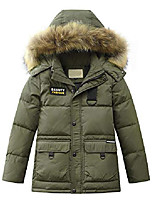 cheap -boys' hooded down coats winter warm jacket solid puffer coat style 1 army green 13-14 years
