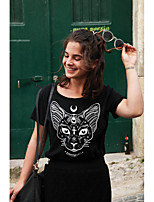 cheap -Women's T-shirt Cat Round Neck Tops Basic Top White Black Blue