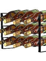cheap -9-bottles wine rack 3 tier stackable countertop cabinet wine holder storage stand - metal, bronze