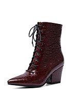 cheap -Women's Boots Cuban Heel Pointed Toe Basic Daily Damask Patent Leather Mid-Calf Boots Walking Shoes Black / Burgundy / Brown