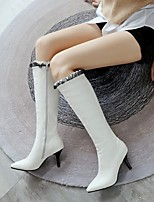 cheap -Women's Boots Stiletto Heel Pointed Toe Classic Daily Solid Colored PU Mid-Calf Boots White / Black / Green