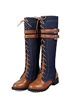 cheap -Women's Boots Knee High Boots 2020 Wedge Heel Round Toe Vintage Outdoor Lace-up Solid Colored Denim Mid-Calf Boots Cycling Shoes Black / Brown / Beige