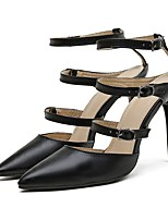 cheap -Women's Sandals Stiletto Heel Pointed Toe Sexy Daily Solid Colored PU Black
