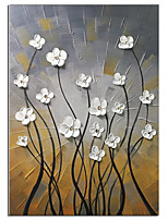 cheap -100% Hand-painted modern home decor wall art picture a bunch of beige flowers thick paint palette knife oil painting on canvas Rolled Without Frame