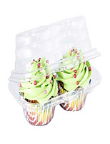 cheap -katgely 2 compartment cupcake container - deep cupcake carrier holder box - bpa-free - clear plastic stackable - case of 212