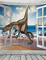 cheap -3D Dinosaur Sea View Window Tapestry Wall Hanging Tapestries Wall Blanket Wall Art Wall Decor Landscape Painting Tapestry Wall Decor