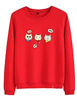 cheap -Women's Sweatshirt Pullover Sweatshirts Black White Pink Cartoon Cat Cartoon Cute Sport Athleisure Pullover Long Sleeve Warm Soft Comfortable Everyday Use Causal Exercising General Use
