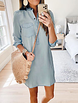 cheap -Women's Shirt Dress Short Mini Dress - Long Sleeve Solid Color Pocket Patchwork Fall Casual Daily 2020 Light Blue S M L XL
