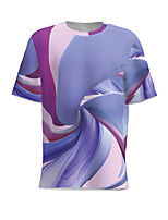 cheap -Men's Daily T-shirt Graphic Patchwork Short Sleeve Tops Basic Round Neck Blue