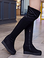 cheap -Women's Boots Wedge Heel Round Toe Classic Daily Solid Colored Nubuck Knee High Boots Black / Brown / Gray