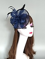 cheap -Headpieces Feathers / Net Fascinators / Hats / Headpiece with Feather / Cap 1 Piece Wedding / Horse Race Headpiece