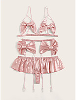 cheap -Women's Bow Gartered Lingerie Suits Nightwear Solid Colored Blushing Pink S M L