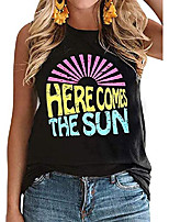 cheap -women cute sunshine graphic shirt sleeveless letter print tee t shirt black